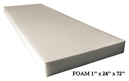 AK TRADING Upholstery Foam High Density Cushion (Seat Replacement, Foam  Sheet, Foam Padding), 1u2033 H X 24u2033 W X 72u2033 L