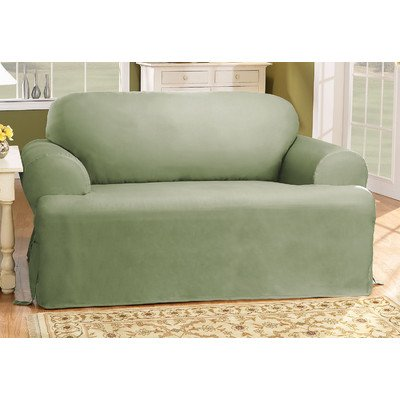 Sure Fit Cotton Duck T Cushion Chair Slipcover Sage