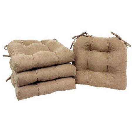 Mainstay Faux Suede Chair Pad With Ties Set Of 4