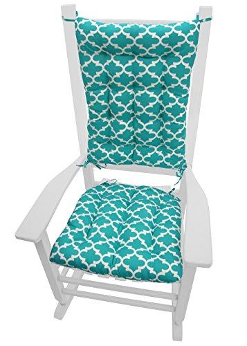 Fulton Aqua Quatrefoil Rocking Chair Cushions Size Extra