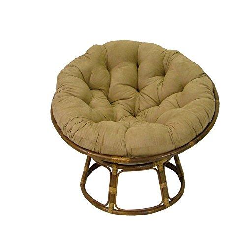 Modern Papasan Chair: Rattan Papasan Chair With Tufted Foam Cushion