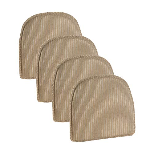 Klear Vu Nakita Striped Non-Slip Dining Kitchen Chair Pads ...